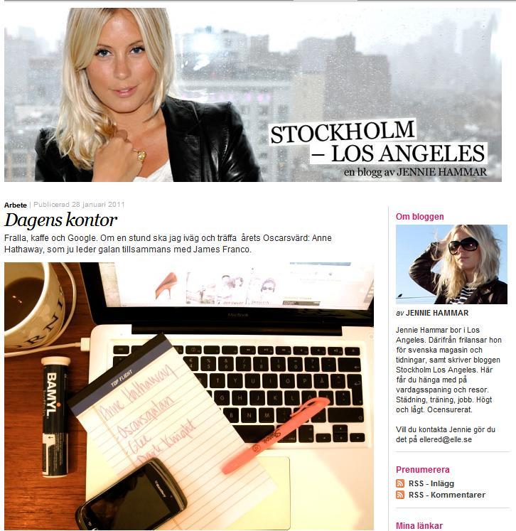 Jennie Hammar skriver bloggen Stockholm-Los Angeles på Elle.se.